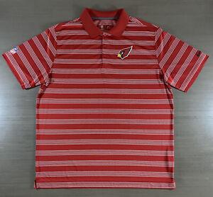 Arizona Cardinals Shirt Mens XL Red Striped Nike Dri-Fit NFL 100% Polyester Polo