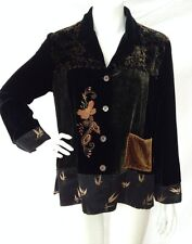 CHICO'S DESIGN Velvet and Silk Emboidered Floral Shirt Boho Chic Size 0 EUC