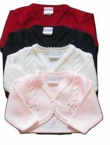 Baby Girls Pattern Cardigan Knitted Bolero Red Navy Pink White