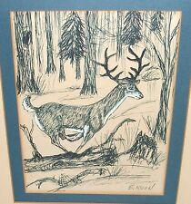 E. MOON RUNNING DEER WILDERNESS LANDSCAPE INK PEN DRAWING