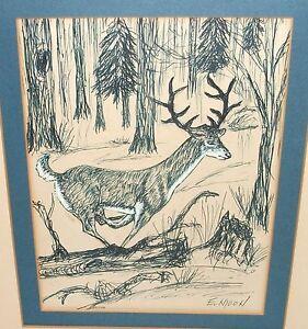 E. MOON RUNNING DEER WILDERNESS LANDSCAPE ORIGINAL INK PEN DRAWING