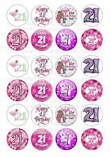 24 21st Birthday Female Wafer / Rice Paper Cupcake Toppers Edible Fairy Cake
