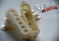 SET OF 3 HAND AGED FENDER PICKUP COVERS WHITE 59 PARTS STRATOCASTER STRAT