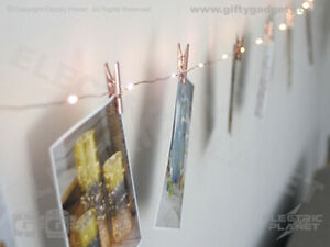 Copper Peg LED Photo-Clip Fairy Lights, 2.75m Warm White Indoor Battery Operated