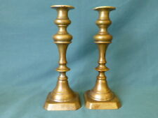 "Antique Brass Push Up Candlesticks 9 1/2"" High"