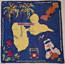 """VINTAGE RHODIA SOUVENIR GUADELOUPE MAP BLUE ACETATE 29"""" SQUARE SCARF"""