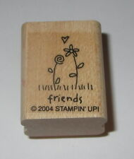 """Friends Rubber Stamp Stampin' Up! Flowers Heart Sayings Daisy Mini 1.25"""" Wood #2"""