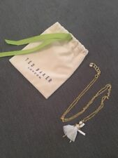 BN Ted Baker Gold White Fairy Ballerina Pendant Necklace with Gift Pouch