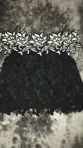 Topshop Black And White Lace Off The Shoulder Top Size 8