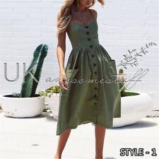 UK Womens Summer Holiday Beach Bardot Button Through Ladies Sun Dress Size 6-20