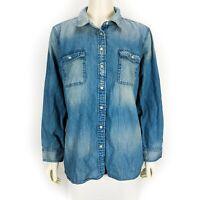 Talbots Women's Denim Jean Long Sleeve Button Down Shirt Top Extra Large Petite