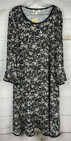 Michael Kors Womens Dress Black Shift Printed Dressy Plus 3X Bell Sleeves NWT