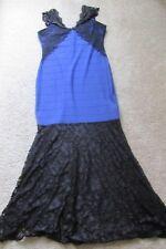 Lipsy London Cobalt Blue Black Lace Long Sexy Sleeveless Dress Sz 12 Lovely!