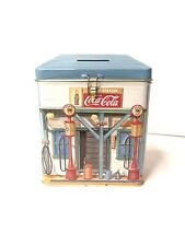 Vintage Coca Cola  Gas Station Tin Bank Filling Station Logo Crown Gas Coke