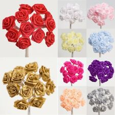 Ribbon Roses on Stem Miniature Wired Satin - 15mm Flowers Craft Embellishment