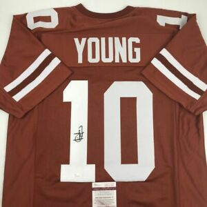 Autographed/Signed VINCE YOUNG Texas Orange College Football Jersey JSA COA Auto