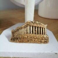 Vintage Gold Tone Greek Akropolis Building Pin Back Costume Brooch