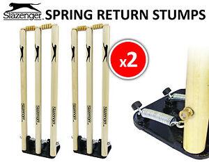 2 x Slazenger Cricket Wooden Spring Return Stumps