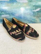 $570 PRADA Black Canvas Gold Embroidered Logo Espadrille Loafer Flats SZ 40 SALE