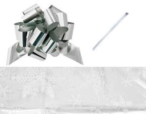 LAST FEW - 61x76cm Cellophane Snowflake Print Hamper Basket with Silver Ribbon