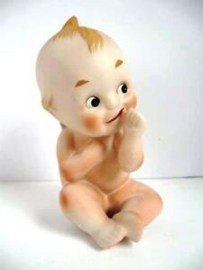 Vintage Cupie Kewpie Sitting Doll Figurine Porcelain Bisque w/Finger Up-Marked