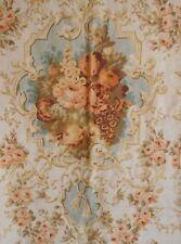 Antique English Romantic Roses Floral Linen Fabric ~ Peach Apricot Aqua Olive