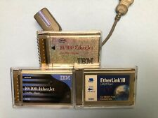 New listing Lot of Vintage Ibm/3Com EtherJet Pcmcia Ethernet Lan Pc Card + Dongle Cable