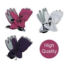 Ladies Warm Thermal Waterproof Floral Print Winter Ski Gloves in 3 Colours