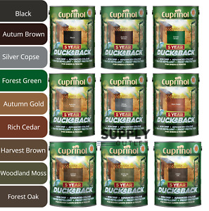 Cuprinol Ducksback 5L 5 Year All Colours Wood Shed Fence Paint Silver Copse Oak