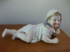 Beautiful Antique German Bisque Piano Baby with Bonnet