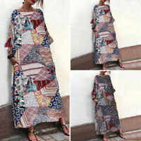 AU Summer Womens Short Sleeve Floral Party Vintage Dresses Long Dress Oversized
