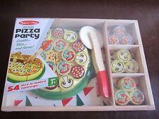 Brand New Melissa & Doug Pizza Party Box Pan Utensil Cutter Spatula toppings