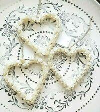 Herzhänger Rosenblüten 3erSet Cremeweiß 14cm Glasperlen Shabby Vintage Landhaus