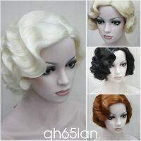 Ladies Short wig Classy Vintage Curly Wavy Wig Black/Brown/Blonde COSPLAY Wigs