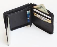 Black Men Genuine Leather Credit Card ID Bifold Wallet Zip Around Card Sleeve NR