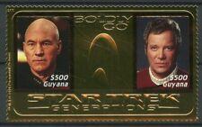 Guyana 1995 MNH Star Trek Generations Captain Picard Kirk 2v M/S Gold Stamps