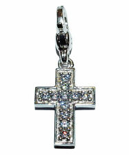 PreOwned Genuine Ti Sento Charming 925 Silver & CZ 'PAVE CROSS' Solid Charm