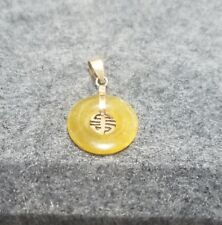 Vintage 14k Yellow Gold Chinese Pendant with Yellow Jadeite
