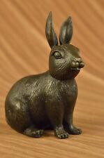 Bunny Rabbit Vintage 100% Bronze Sculpture-Signed Milo Lost Wax Method Art Gift