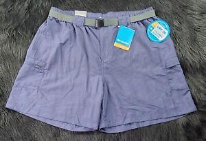 Columbia Women's Gray Blue Omni Shield Short Court Nylon Shorts SZ1X Regular Fit