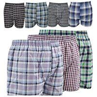 3/6/12 Pack Men Woven Check Print Poly Cotton Boxer Shorts Underwear Plain Trunk