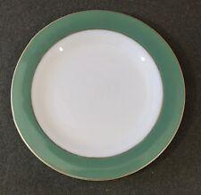 """Pyrex Green Band Gold Trim Milk Glass 9 7/8"""" Dinner Plate Gold Mark EUC"""