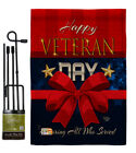 Happy Veteran Day Burlap Garden Flag Service Armed Forces Gift Yard House Banner