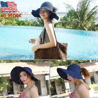 Sun Visor Hats for Women - Wide Brim UV Protection Summer Beach Folding Hats