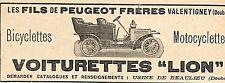 VALENTIGNEY PEUGEOT FRERES VOITURETTES LION PUBLICITE 1908