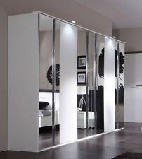 SlumberHaus German Modern Davos White Chrome Mirror 6 Door 270cm Wardrobe