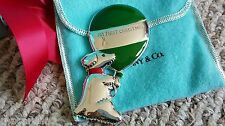 RARE TIFFANY&CO STERLING/GREEN ENAMEL1st CHRISTMAS DOG&BALLOON ORNAMENT,BAPTISM