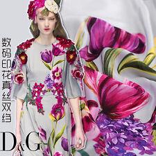 DESIGNER DG FLORAL PRINT 100% SILK CREPE DE CHINE FABRIC BY THE YARD S021