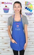 Personalized Kids Apron with I Love Baking Embroidery Design