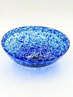 Vintage Mottled Hand Blown Cobalt Blue Art Deco Glass Bowl Centerpiece Display